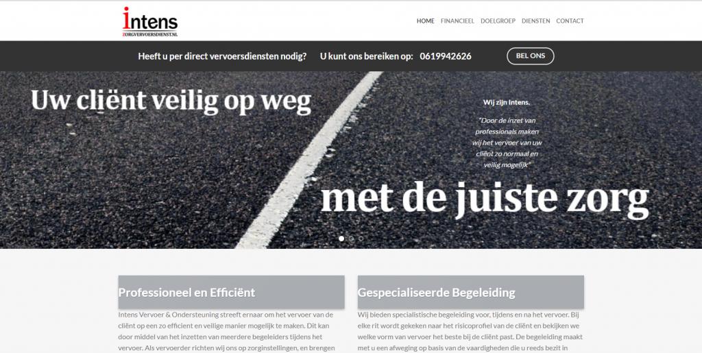 Intens Vervoer & Ondersteuning website